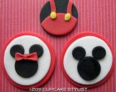 MICKEY and MINNIE MOUSE Edible Fondant Cupcake Toppers by Cupcake Stylist