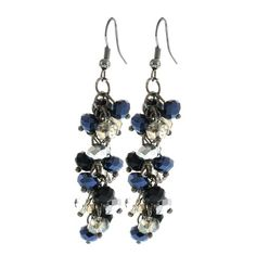 """2"""" Black and Silver Cluster Faceted Crystal Dangle Hook Earrings For Women  Price:$9.99"""