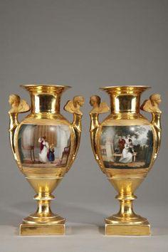 Пара эпохи империи Фарфоровые вазы