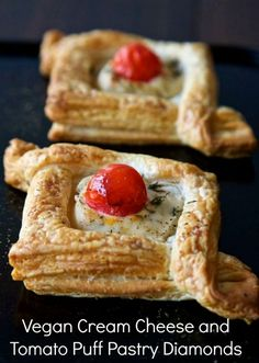 Vegan Puff Pastry Diamonds - filled with herb and garlic vegan cream cheese, topped with cherry tomatoes and thyme, these make perfect vegan canapés!