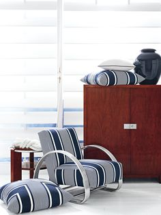 Porte de Riviera fabric from Ralph Lauren Home -  performance textiles in rich navy and white inspired by the sporty elegance of yachting in the French Riviera