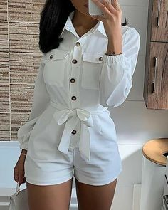 Women's Fashion Rompers Online Shopping – IVRose Trend Fashion, Womens Fashion, Style Fashion, Gothic Fashion, Casual Outfits, Cute Outfits, Striped Jumpsuit, Long Sleeve Romper, Jumpsuits For Women