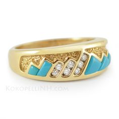 "This beautiful ring features vibrant turquoise 'mountains' and can be created as a men's or women's ring. ""Desert Oasis - Sierra"" Turquoise Southwestern Wedding Band."