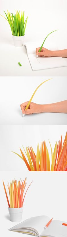Write with the colors of the breeze! These cute Grass Pens wave as you write! Cute Stationary, Cool Inventions, Cool Gadgets, Cool Office Gadgets, Pens And Pencils, School Supplies, Art Supplies, Penne, Cute Desk Decor