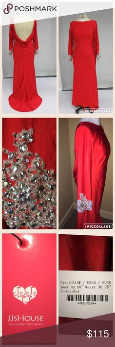 JJ'S House Red Evening Gown W/Beading & Sequins Red Evening Gown W/Beading & Sequins           NEVER WORN NEW WITH TAGS  -Silhouette:  Trumpet/Mermaid  -Scoop Neckline -Long Sleeves  - Sweep Train  -Material: 100% Polyester  -Fully lined   -Embellishments: Beading/Sequins on cuff and arm of sleeve  Size:US16W  UK 20  EU 46 Bust=43.00inch Waist=36.25inch Hips=45.50inch Hollow to Floor=61.00inch JJ'S House Dresses