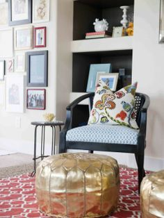 Street Design School: Colorful Living Room Before & After----chair fabric with pillow Interior Design Blogs, Interior Design Magazine, Interior Decorating, Interior Inspiration, Decorating Ideas, Craft Ideas, My Living Room, Home And Living, Living Spaces