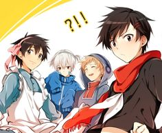 Kagerou project clothes switch! Shintaro wearin ayano's clothes, Seto wearing Mary's clothes, Kano wearing Kido's clothes, and last but not the least Konoha wearing Ene's clothes. :3