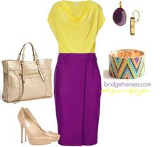 purple pencil skirt outfits | Color Blocked Pencil by bridgetteraes featuring high waisted skirts