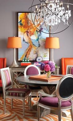 IBB Design Ibb Design, Dining Rooms, Dining Chairs, Colorful Decor, Color Combos, Interior Decorating, Scene, Interiors, Lighting