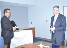 Dr. Tedros meets with Deputy Director Marc Ostfield at the State Department's Foreign Service Institute