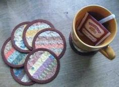 sew some fabric collage coasters for a gift or for yourself