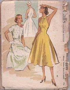 MOMSPatterns Vintage Sewing Patterns - McCall's 8899 Vintage 50's Sewing Pattern SENSATIONAL Marilyn Monroe Summer Halter Sundress, Cutaway ...