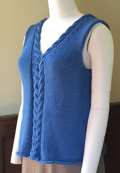 Sewing For Beginners Great New Pattern For Beginner Knitters: Make This Easy Cabled Tank Aran Knitting Patterns, Knit Patterns, Clothing Patterns, Baby Knitting, Vest Pattern, Top Pattern, Free Pattern, Sewing Basics, Sewing For Beginners