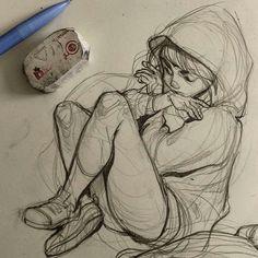Wotchbox i love art sad sketches, girl drawing sketches, sketch, beautif Drawing Lessons, Drawing Poses, Drawing Ideas, Drawing Tips, Sketching Tips, Drawing Techniques, Art Drawings Sketches, Cool Drawings, Pencil Drawings