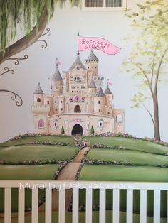 Castle mural for little princess! This is a close up of full wall mural - with fairytale forest, including huge weeping willow.
