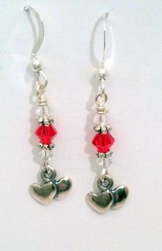 Double Hearts Dangle Earrings with Swarovski Crystals