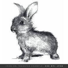 Oh my goodness.  I love this  bunny.  Instant Download. Happy Bunny. Rabbit Iron On Transfer Art. DIY Digital Art. Printable Art.