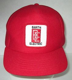 Vintage 1980s Trucker Flat Brim Hat Snap Back Foam USA Red High Baseball Cap