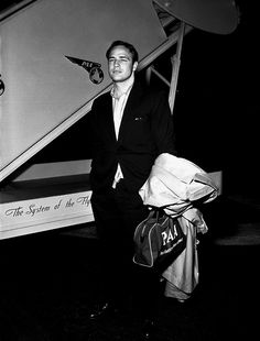 Marlon Brando returning from Japan, where he did a 3 month shoot for the film Sayonara, 1957.