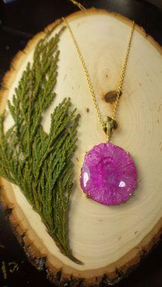 Stunning Pink Solar Quartz Necklace Geode Slice by WildFernArt