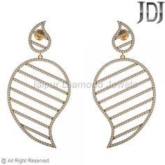 14k Yellow Gold Diamond Earrings Jewelry, Filigree Gold Diamond Earrings #jewelry #diamond #earrings #dangle #mangodesign #gold #yellowgold
