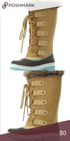 •Faux Fur -Lined Duck Boots• Two-toned rubber with raised lines forms a waterproof base with a round toe in front, while oiled faux suede takes over on top to form a cool, mid-calf shaft. Shoestrings weave up through metal grommets, leading the way to the cozy faux fur opening on top. Color is Taupe 🔥🔥 Shoes Winter & Rain Boots