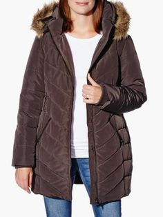 Quilted Maternity Coat With Faux-Fur Hood from #ThymeMaternity