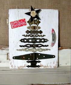 diy christmas tree from reclaimed hardware, home decor, repurposing upcycling, seasonal holiday d cor, I added the Christmas gift tag for a punch of color