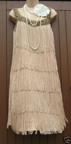 SIZE 12 20'S CHARLESTON DECO GATSBY FLAPPER STYLE FRINGE TASSLE DRESS US 10 EU40