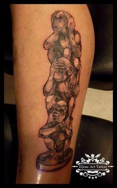 The three wise monkeys Tattoo - http://16tattoo.com/three-wise-monkeys-tattoo/