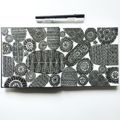 Lisa Congdon sketchbook illustration. Surface pattern design. Black and white drawing.