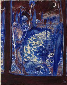 "terminusantequem: ""Brett Whiteley (Australian, The Blue Garden, Oil and watercolour on canvas, x 61 cm "" Watercolor Canvas, Watercolor Landscape, Landscape Paintings, Watercolour, Landscapes, Abstract Landscape, Australian Painting, Australian Artists, Decoupage On Canvas"