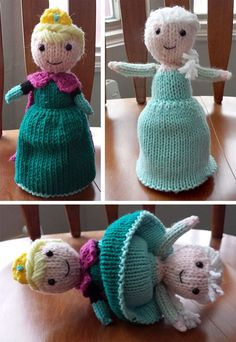 Free Knitting Pattern for Elsa Flip Doll - This clever Elsa Doll flips from her . Free Knitting Pattern for Elsa Flip Doll - This clever Elsa Doll flips from her coronation dress into her winter dress. Knitted Elsa Doll, Knitted Dolls Free, Crochet Dolls, Crochet Cats, Crochet Birds, Crochet Animals, Loom Knitting, Free Knitting, Baby Knitting