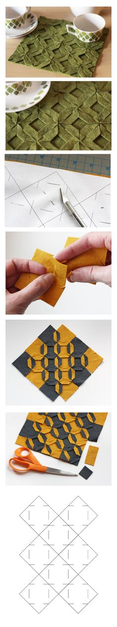 Origami in felt - Simple DIY Crafts Fabric Art, Fabric Crafts, Sewing Crafts, Sewing Projects, Paper Crafts, Origami And Kirigami, Fabric Origami, Origami Paper, Oragami