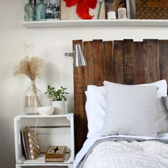 You are currently showing here the ideas of DIY Pallet Furniture Ideas 12 DIY Pallet Headboard Ideas. DIY Pallet Headboard Designs Furniture is the wooden of Diy Headboards, Wood Headboard, Headboard Ideas, Bed Backboard, Light Headboard, Country Headboard, Reclaimed Headboard, Shelf Headboard, Custom Headboard