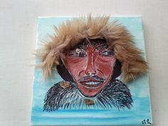 acrylique 20/20 et collage.theme l'arctique,l'inuit