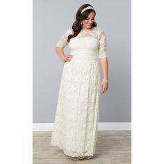 Kiyonna Lace Illusion Wedding Gown ($324) ❤ liked on Polyvore featuring plus size women's fashion, plus size clothing, plus size dresses, plus size wedding dresses, plus size and ivory