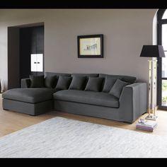 5 seater cotton corner sofa in grey