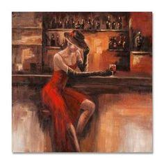 Miss Scarlet Inspiration | FEMMES 100x100 Peinture acrylique carrée Marron et Rouge