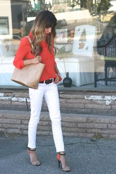 Love this - from hair to toe!  Ombre waves, bright blouse, white jeans, mens' belt, amazing shoes and bag!  I WANT!