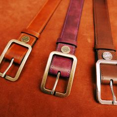 Dominique Saint Paul hand coloured belts. Belt to match the shoes? Or maybe not? Make it your style. Unisex belts in 3cm and 4cm widths Any colour. Any length. Antique brass, palladium or gold buckles custom made for us.