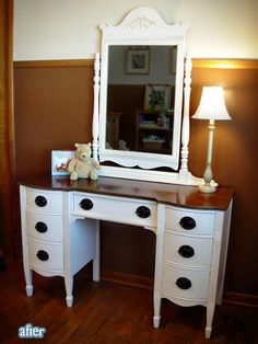 Ugh.  I thought I was over the idea of painting a dresser white and leaving the top a dark stain, and then along comes this picture.  I'm still over it, since the walls are gray, but this did re-spark the interest.
