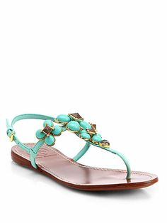 Tory Burch - Jameson Beaded Leather Thong Sandals - Saks.com