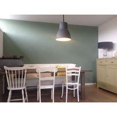 Muurkleur: Histor 'Geordend' groen en in vt wonen zagen we de kleur parallel Living Room Interior, Room Inspiration, Decor, House Interior, Living Room Inspiration, Wall Colors, Home, Interior, Home Diy