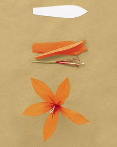 Use 5 petals (get the template below), a pistil stamen, and an elongated leaf. Fold petals in half lengthwise, crease, then unfold. Shape petals to cup outward at widest point. Attach to stamen in an evenly spaced ring, leaving the pistils inside the stamen long.Get the Lily Petal Template