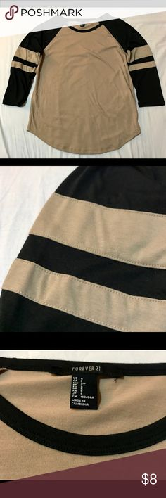 Raglan 3/4 sleeve shirt - Baseball tee Loose fitting for size Small, can fit as size Medium. Saddle bottom hem. Stitched stripe on sleeves. Gently worn. Forever 21 Tops