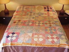 "Vintage Hand Sewn Grandmother's Cotton Quilt Nine Patch Inside Square 77"" x 77"" | eBay, evintage"