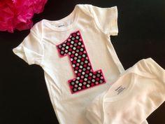 Girl First Birthday Onesie Bodysuit in Glitter by FourLittlePearls, $14.00