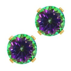 2.00 Ct Round Green Mystic Topaz Gold Plated Silver 4-prong Stud Earrings 6mm Gem Stone King. $19.99. 2.00 Ct. Mystic Topaz. Stones: 6mm