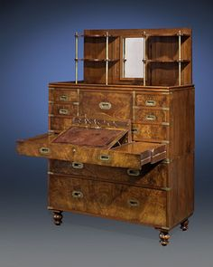 This incredible chest is exemplary of the finest English campaign furniture ~ M.S. Rau Antiques